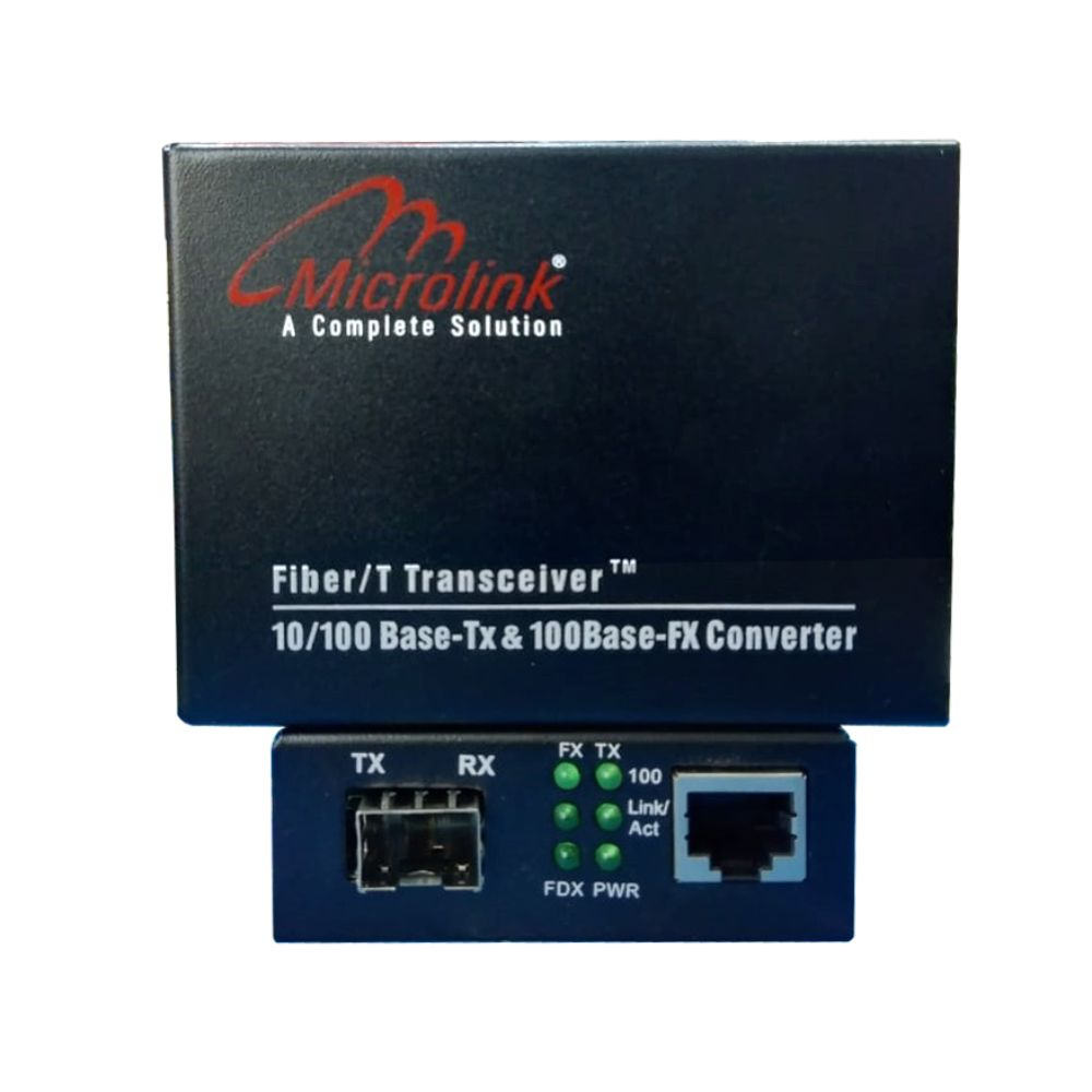 Microlink Fiber Media Converter 10/100Base-Tx to 100Base-Fx with 1 Fiber SFP Slot + 1 RJ45 Ports